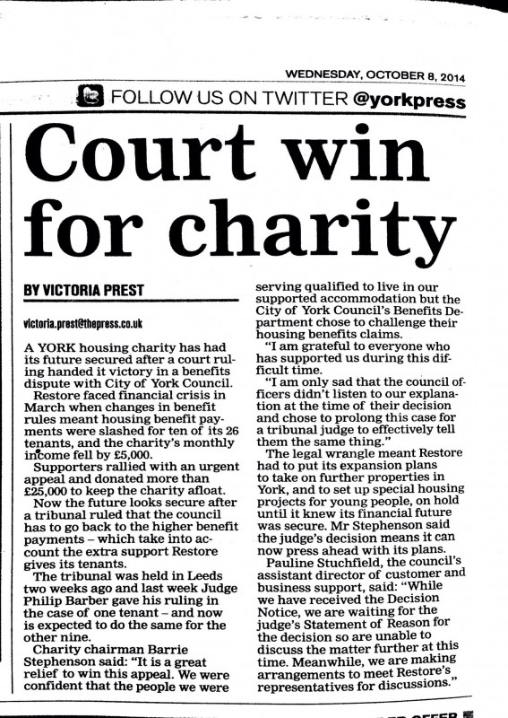 Newspaper article about the tribunal victory