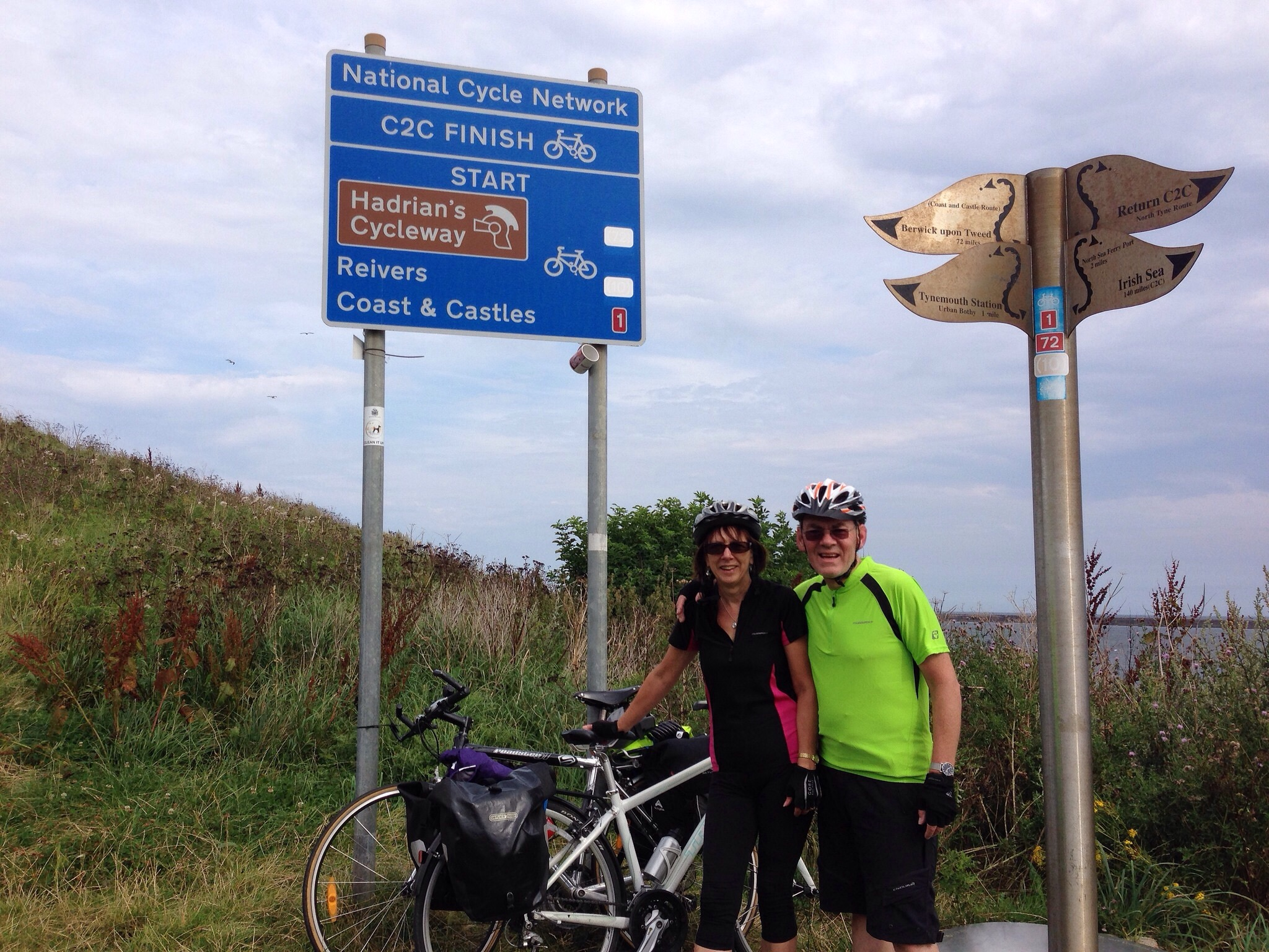 Barrie and Joan at the end/start of the Hadrian's Wall Cycleway