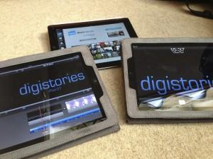 iPads displaying digistories logo