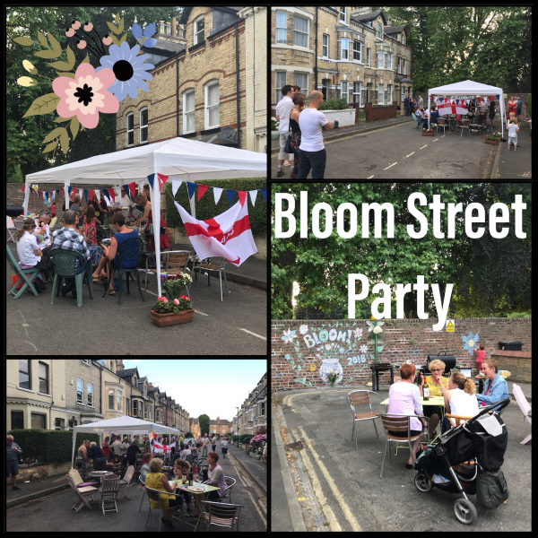 Montage of street party scenes