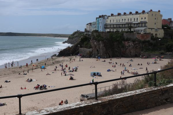 A view of the beach and cliffs in Tenby, Pembrokeshire